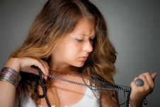 Free Woman Stretching Necklace Stock Photography - 15439272