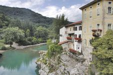 Free Old Buildings Near River In Slovenia Royalty Free Stock Images - 15439419