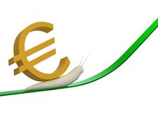 Snail And Euro Royalty Free Stock Images