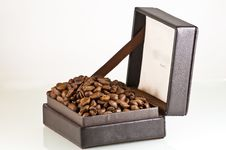 Free Broun Leather Box Full Of Coffee Seeds Isolated Royalty Free Stock Photography - 15439987