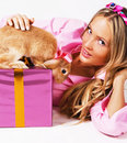 Free Lovely Festive Woman With A Rabbit Royalty Free Stock Image - 15441796