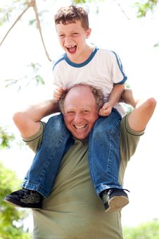 Free Grandpa Enjoying Himself Royalty Free Stock Photo - 15440115