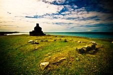 Welsh Coastline With Old House Ruin On Foreground Royalty Free Stock Photos