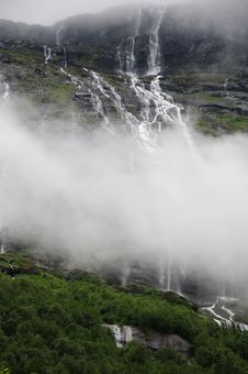 Free Waterfall Above Lovatnet Lake, Norway Stock Photo - 15440900