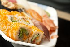 Free Japanese Sushi Rolls Set Royalty Free Stock Image - 15440956
