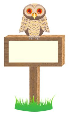 Free Wooden Placard With Owl Royalty Free Stock Photo - 15441645