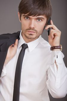 Businessman Talking On Cell Phone Stock Image