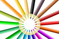 Free Colored Pencils Circle Royalty Free Stock Images - 15442949