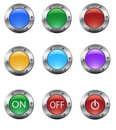 Free Color Glass Buttons Set Royalty Free Stock Photography - 15444767