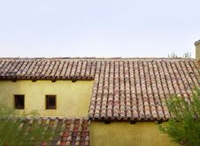 Old Roof Top Tiles On Old Home In Tuscany