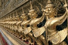 The Golden Statues At The Emerald Buddha Temple Royalty Free Stock Photo