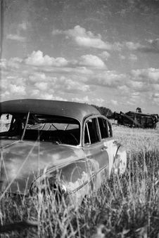 Free Old Car On The Prairies Royalty Free Stock Photography - 15447747