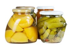 Free Canned Apricots, Cucumbers And Carrots Stock Photography - 15448282