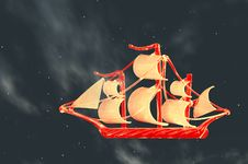 Free Small Sailing Ship With Big Sails In The Clouds Royalty Free Stock Photography - 15448647