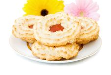 Jam And Coconut Cookies Stock Image