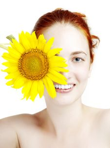 Free Smiling Girl With A Sunflower In The Hands Stock Images - 15448914