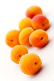 Free Ripe Apricots Isolated On White Backg Royalty Free Stock Photography - 15448947