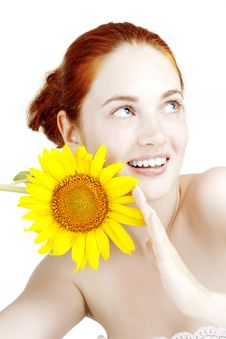 Free Smiling Girl With A Sunflower In The Hands Stock Photography - 15448952