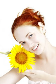 Free Smiling Girl With A Sunflower In The Hands Royalty Free Stock Photos - 15448978