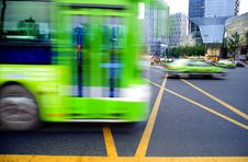 Free High Speed And Blurred Bus Trails Royalty Free Stock Photography - 15449357