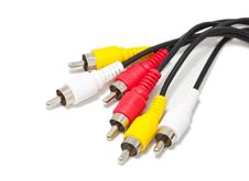 Free Av Cables Over White Stock Image - 15449641