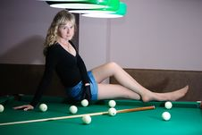 Free Teen On Billiard Table Royalty Free Stock Photos - 15450748