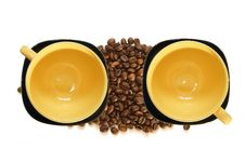 Free Large Yellow Cup And Black Saucer Royalty Free Stock Images - 15451329