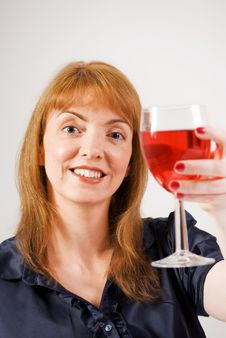 Free Woman Toasting With Glass Of Red Wine Royalty Free Stock Photos - 15453368
