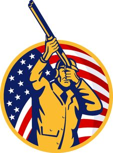 Free Hunter Shotgun American Flag Stock Photos - 15454283