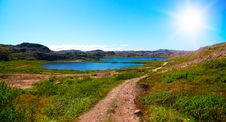 Two Lakes Surrounded By Green Hill Royalty Free Stock Photos