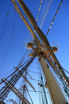 Free Ship Tackles, Rigging On A Old Frigate Stock Images - 15455014