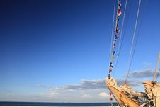Free Ship Tackles, Rigging On A Old Frigate Stock Photos - 15455043