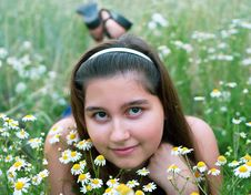 Free Girl On Chamomiles Stock Photography - 15455092