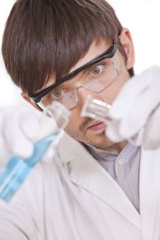 Free Scientist With Two Flasks Royalty Free Stock Image - 15455596