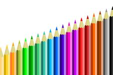 Free Colored Pencils In A Row Royalty Free Stock Photos - 15455968