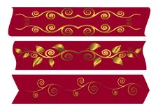 Red Banners With Swirls. Vector Illustration. Stock Photo