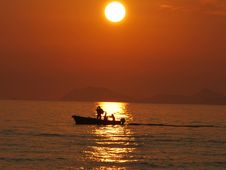 Free Sunset Boat Croatia Royalty Free Stock Images - 15456319