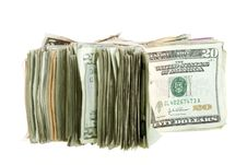 Twenty Dollar Bills Stacked And Banded Together Royalty Free Stock Image