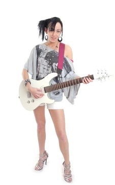 Free Casual Sexy Young Woman With Guitar Stock Image - 15456651