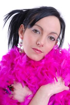 Free Casual Sexy Young Woman With Pink Feather Boa Stock Photos - 15456733