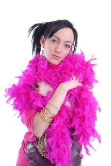 Free Casual Sexy Young Woman With Pink Feather Boa Royalty Free Stock Photos - 15456748