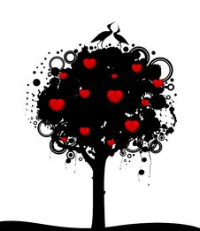 Free Tree With Red Hearts Royalty Free Stock Photography - 15456867