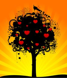 Free Tree With Red Hearts Royalty Free Stock Image - 15457266