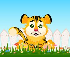 Cartoon Smiling Tiger After A Fence Stock Photography