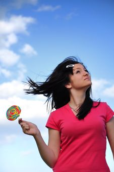 Free Girl With Lollipop Royalty Free Stock Photos - 15457518