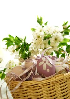 Free Easter Eggs And Branch With Flowers Stock Images - 15458064