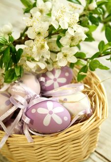 Free Easter Eggs And Branch With Flowers Stock Photography - 15458612