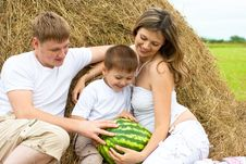 Free Happy Family Haystack With Watermelon Summertime Stock Image - 15459171