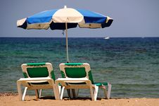Pair Of Beach Chairs Royalty Free Stock Image