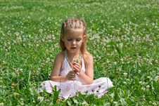 Free A Little Girl Sitting In The Meadow Royalty Free Stock Image - 15459986
